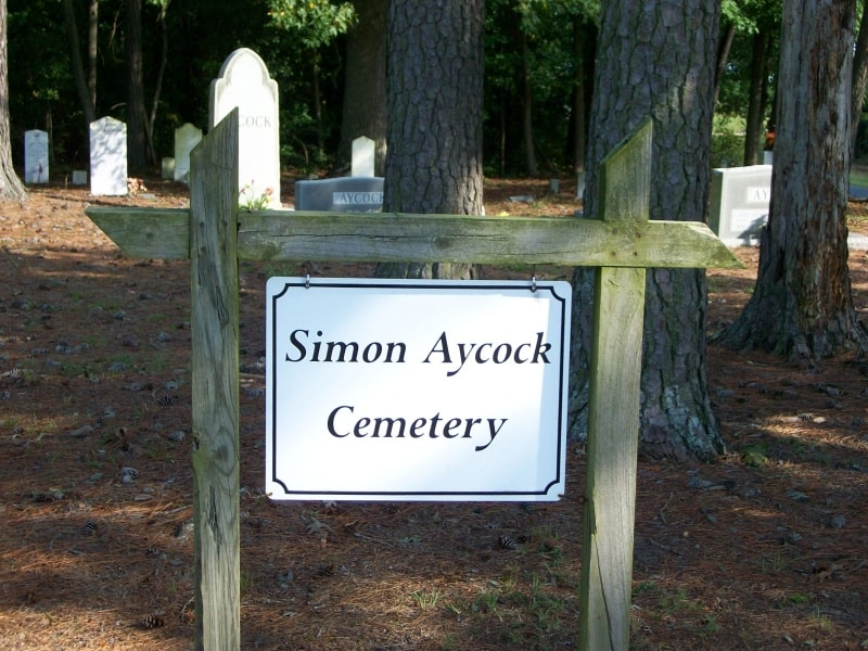 Simon Aycock Cemetery Sign